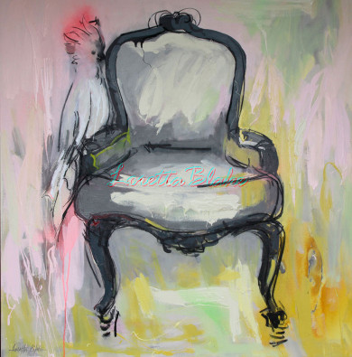 COCKY-WANT-A-CHAIR–industrial-acrylic-&-charcoal-91cm-x-91cm