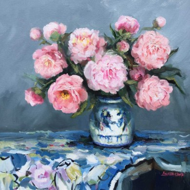 (11)-Still-life-Peonies-traditional,-Oil-61x61cm