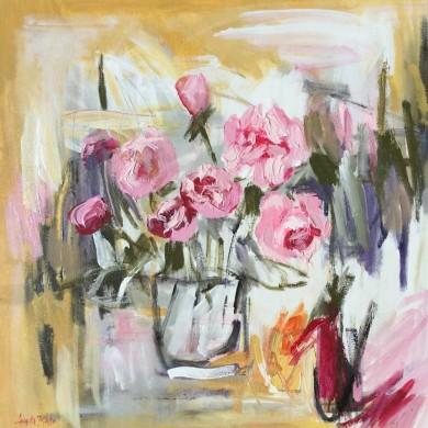 (13)-Wild-Roses,-Acrylic-61x61cm