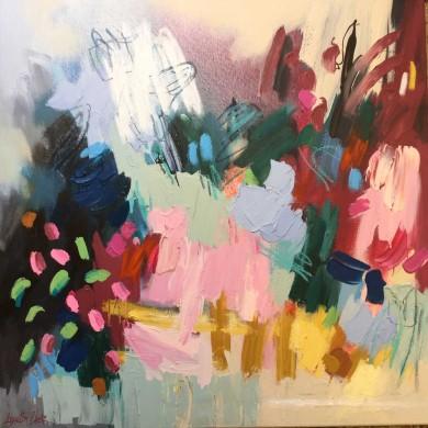 (8)-Rose-Landscape,-Acrylic-&-oil-pastel-61x61cm